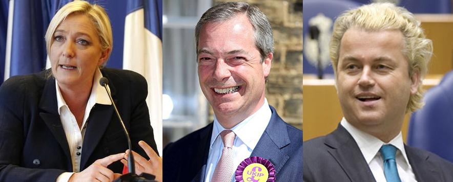 Marine Le Pen, Nigel Farage e Geert Wilders