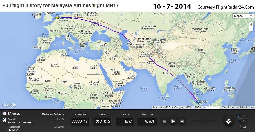 La rotta seguita dal MH17 giorno 16 luglio