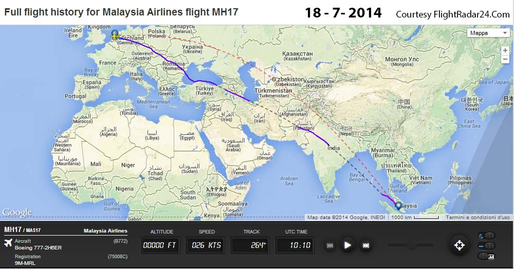 La rotta seguita dal MH17 il giorno dopo il crash