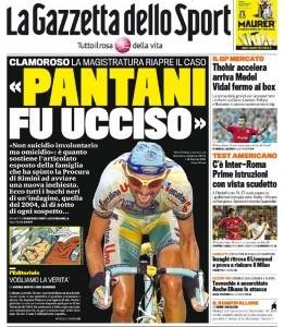 La prima pagina della Gazzetta dello Sport dedicata al caso Pantani