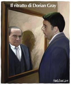 Renzi allo specchio. Una vignetta di Mauro Biani per il Manifesto