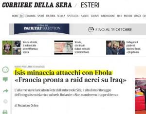 CORRIERE ISIS ATTACCA CON EBOLA