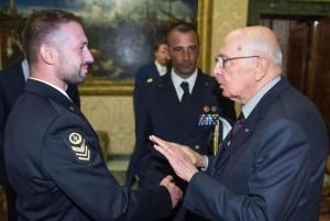 Giorgio Napolitano con Massimiliano Latorre EPA/Giandotti