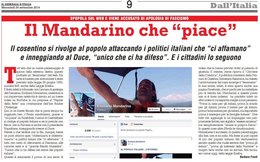 """""""Il Mandarino che piace"""" sul Giornale d'Italia della """"Destra"""" di Storace"""