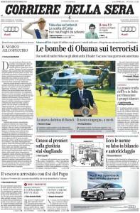 La prima pagina del nuovo Corriere della Sera del 24-9-2014