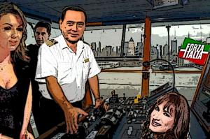 Pascale Berlusconi e i gay - Berlusconi al timone di Forza Italia (nave della discordia) distratto da Pascale e Luxuria. Alle spalle, irritato, Toti. Ricostruzione per secondopianonews.com
