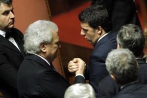 Verdini e Renzi in Parlamento