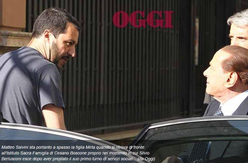 Incontro casuale Salvini Berlusconi a Cesano Boscone -- Oggi
