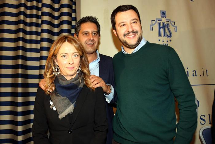 Meloni, Toti e Salvini a Bologna. (photo Ansa/Benvenuti)