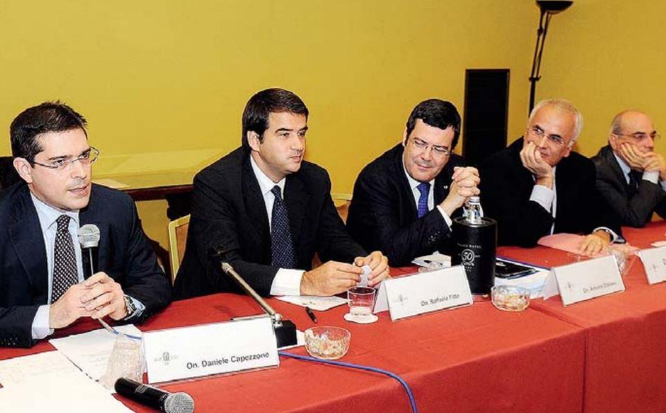 Da sinistra Capezzone, Fitto, Distaso, De Tomaso e Rossi (photo Gazzetta Mezzogiorno/Turi)