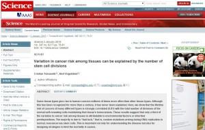 ricerca tomasetti sul cancro - science