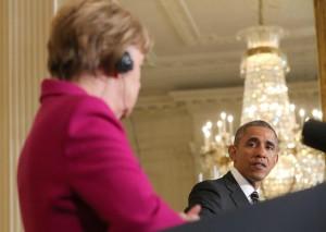Merkel e Obama discutono della crisi Ucraina (Epa/Kappeler) venti di guerra in europa