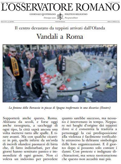 Osservatore Romano vandali olandesi Feeynoord