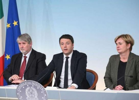 Poletti, Renzi e Guidi decreti Jobs Act