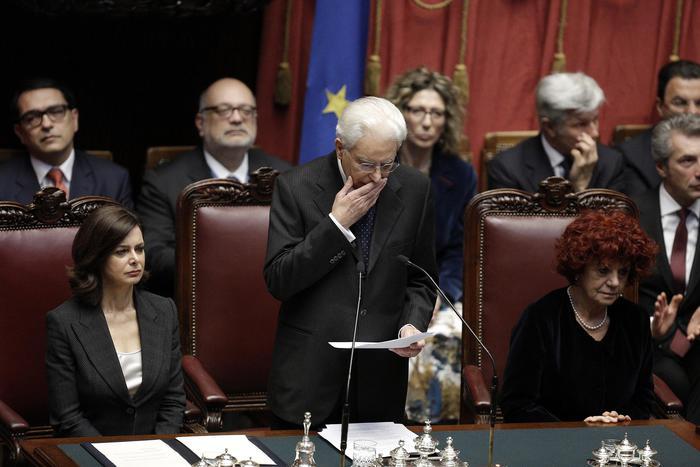Presidente Sergio Mattarella alla Camera durante il giuramento