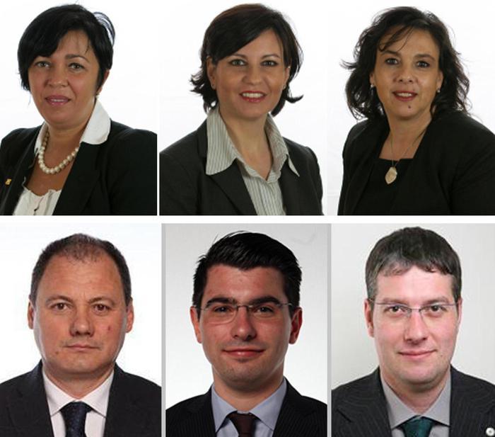 da sinistra a destra, in alto, le senatrici della Lega Nord Emanuela Munerato, Patrizia Bisinella e Raffaella Bellot. In basso i deputati Roberto Caon, Emanuele Prataviera e Matteo Bragantini.
