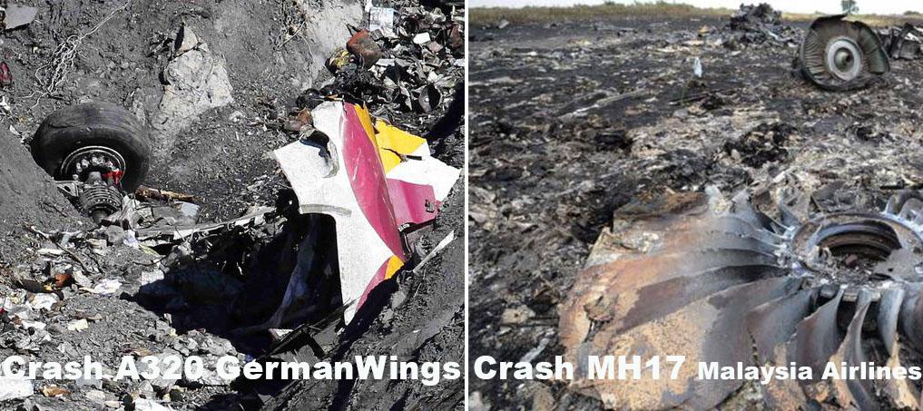 Ecco la differenza tra i disastri A320 e MH17. A sinistra non appaiono segni di fuoco