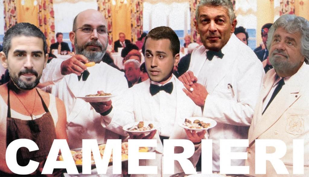 """Camerieri Movimento 5 Stelle Un fotomontaggio della locandina del film """"Camerieri"""""""