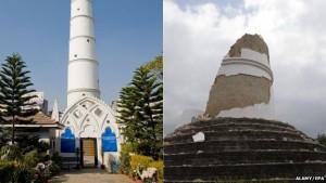 La torre di Dharahara a Kathmandu prima e dopo il terremoto