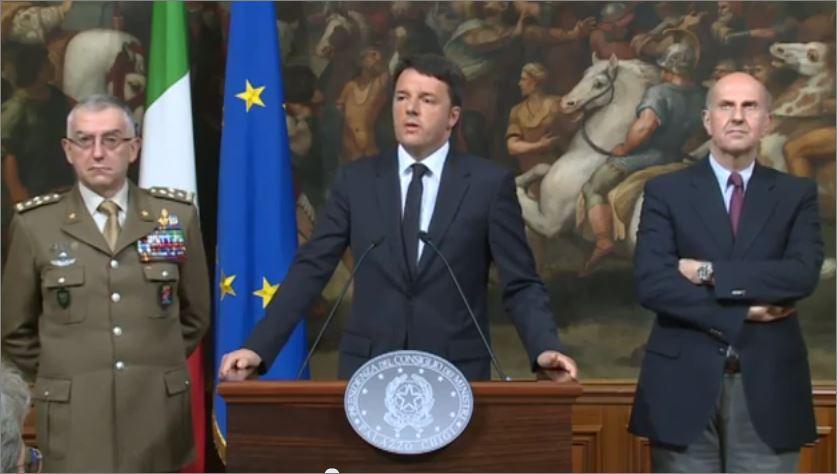 Matteo Renzi durante il vertice dopo strage migranti in Libia