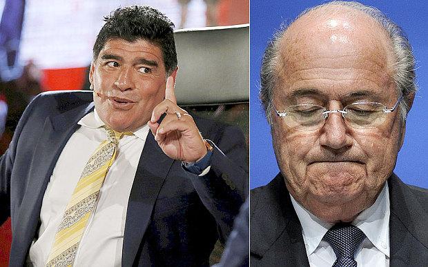 Diego Amando Maradona e Sepp Blatter