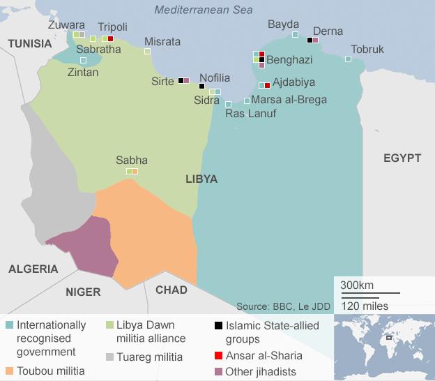 La mappa dei gruppi ribelli libici