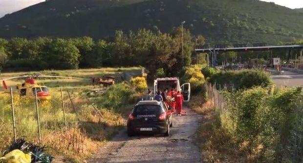 L'ambulanza sul luogo dell'incidente