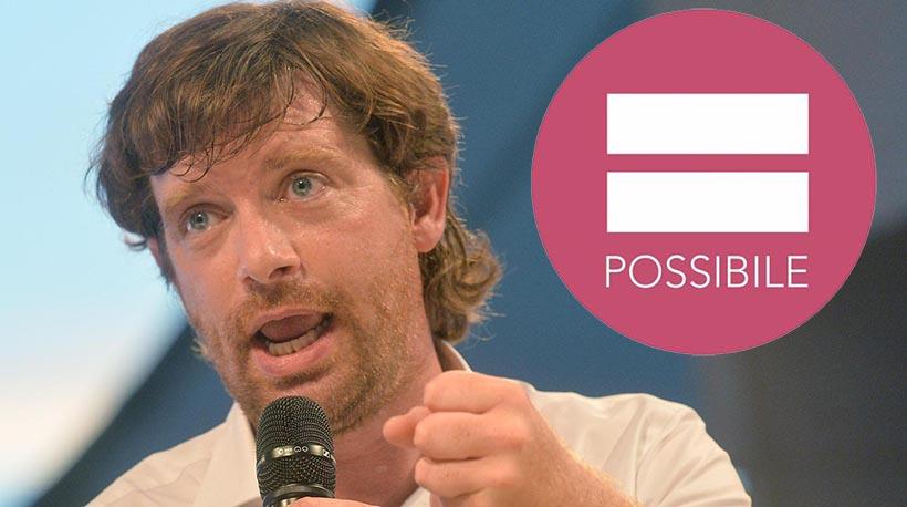 """Pippo Civati in una foto Ansa d'archivio rielaborata con il logo del suo partito """"Possibile"""""""
