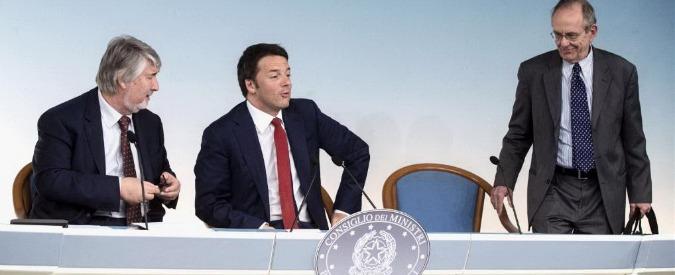 Renzi, Padoan e Poletti alla conferenza stampa su dl arretrati pensioni