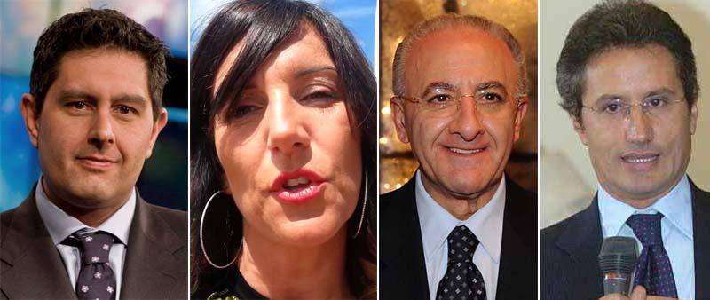 Elezioni regionali in Campania e Liguria. Nella foto da sinistra: Toti, Paita, De Luca e Caldoro