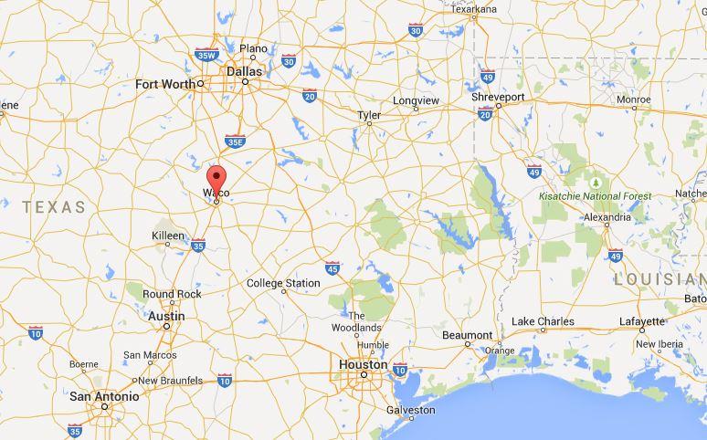 la mappa dove si trova Waco in Texas