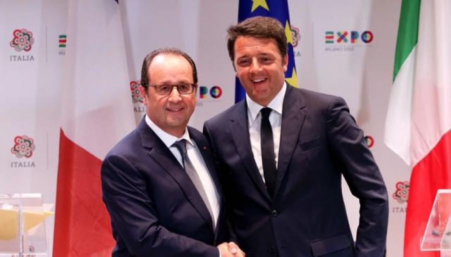Francois Hollande e Matteo Renzi la scorsa settimana all'Expo - rimpatriare clandestini, accogliere rifugiati