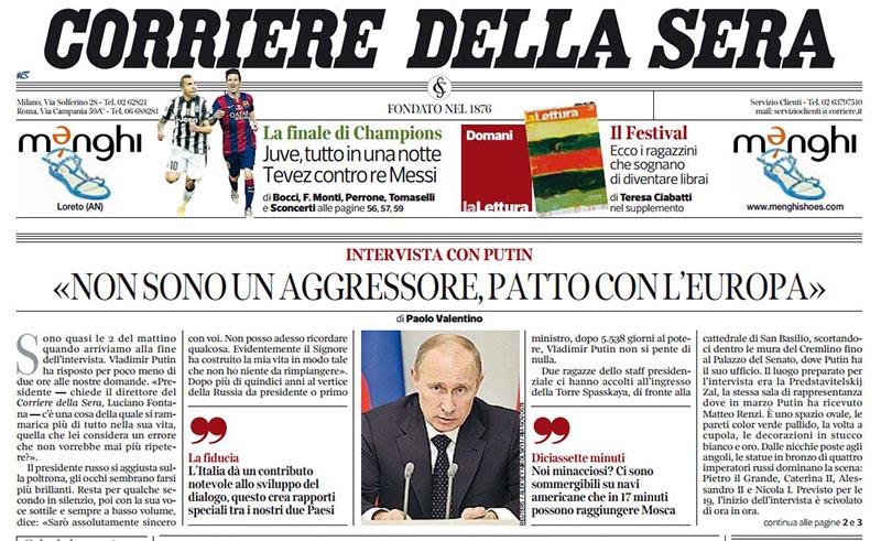 Intervista a Putin del Corriere della Sera 6-6-2015