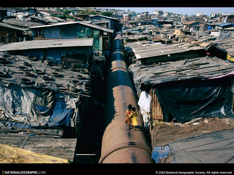 Malad Mumbai slums. Una delle baraccolpoli a Mubai in India