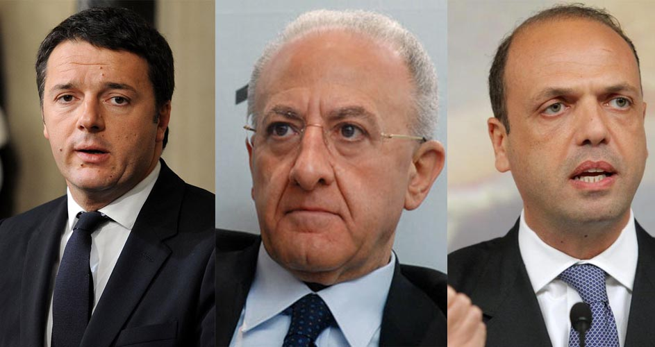 Matteo Renzi, Vincenzo De Luca, Angelino Alfano - Caso De Luca