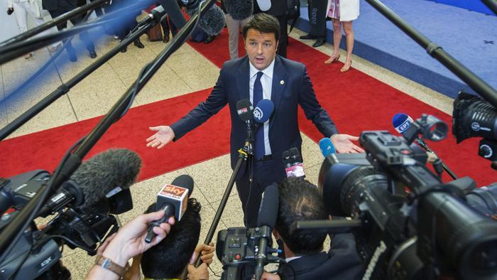 Matteo Renzi al termine del vertice Ue