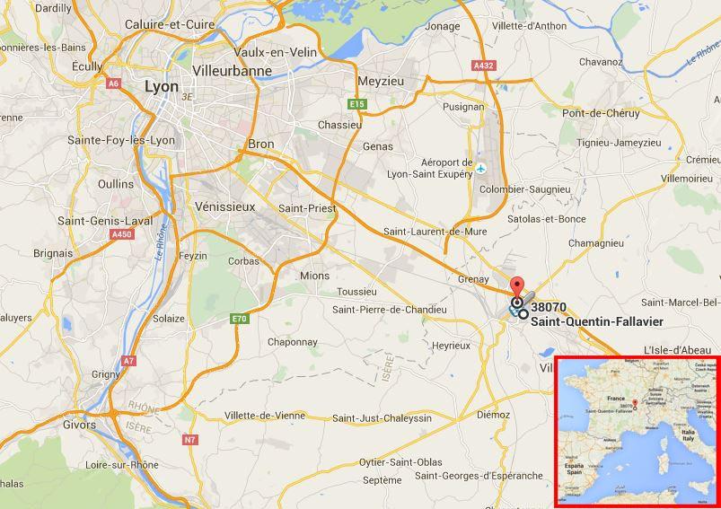 mappa Francia Europa Lione Saint-Quentin-Fallavier - attacco terroristico in Francia