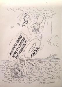 Una vignetta di Forattini solo per Ansa.it - Vertenza Ansa