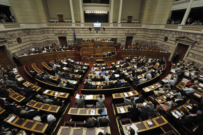 Il parlamento greco durante il voto del 15 luglio 2015