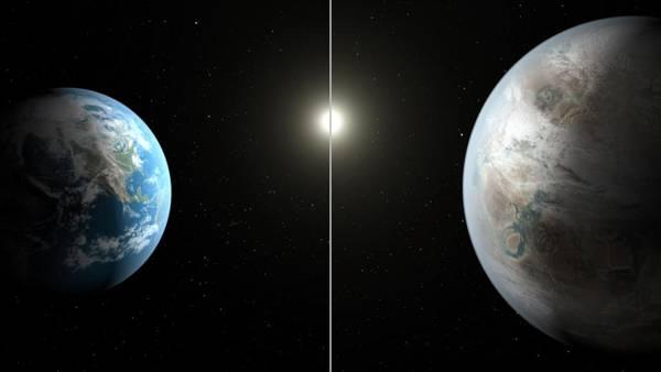 Le proporzioni tra il Pianeta Terra (a sinistra) e il Pianeta Kepler-452b
