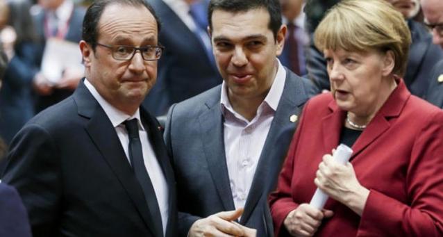 Merkel Hollande e Tsipras in una foto di qualche settimana fa