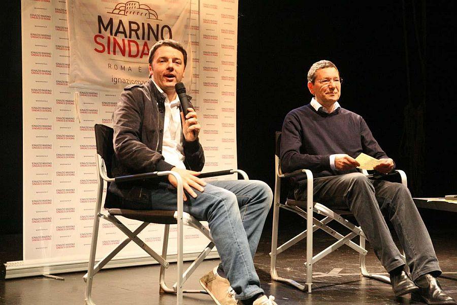 Matteo Renzi e Ignazio Marino (Foto Omniroma)