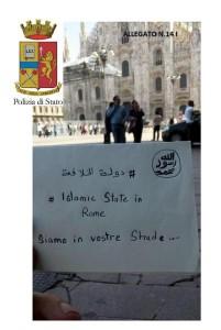 Uno dei messaggi minacciosi dei presunti terroristi