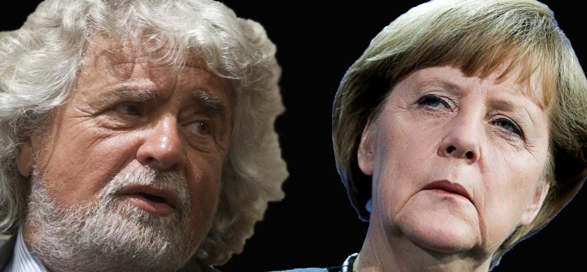 Beppe Grillo e Angela Merkel