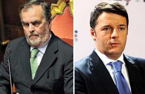 Da sinistra Calderoli e Renzi impegnati in Riforma del Senato