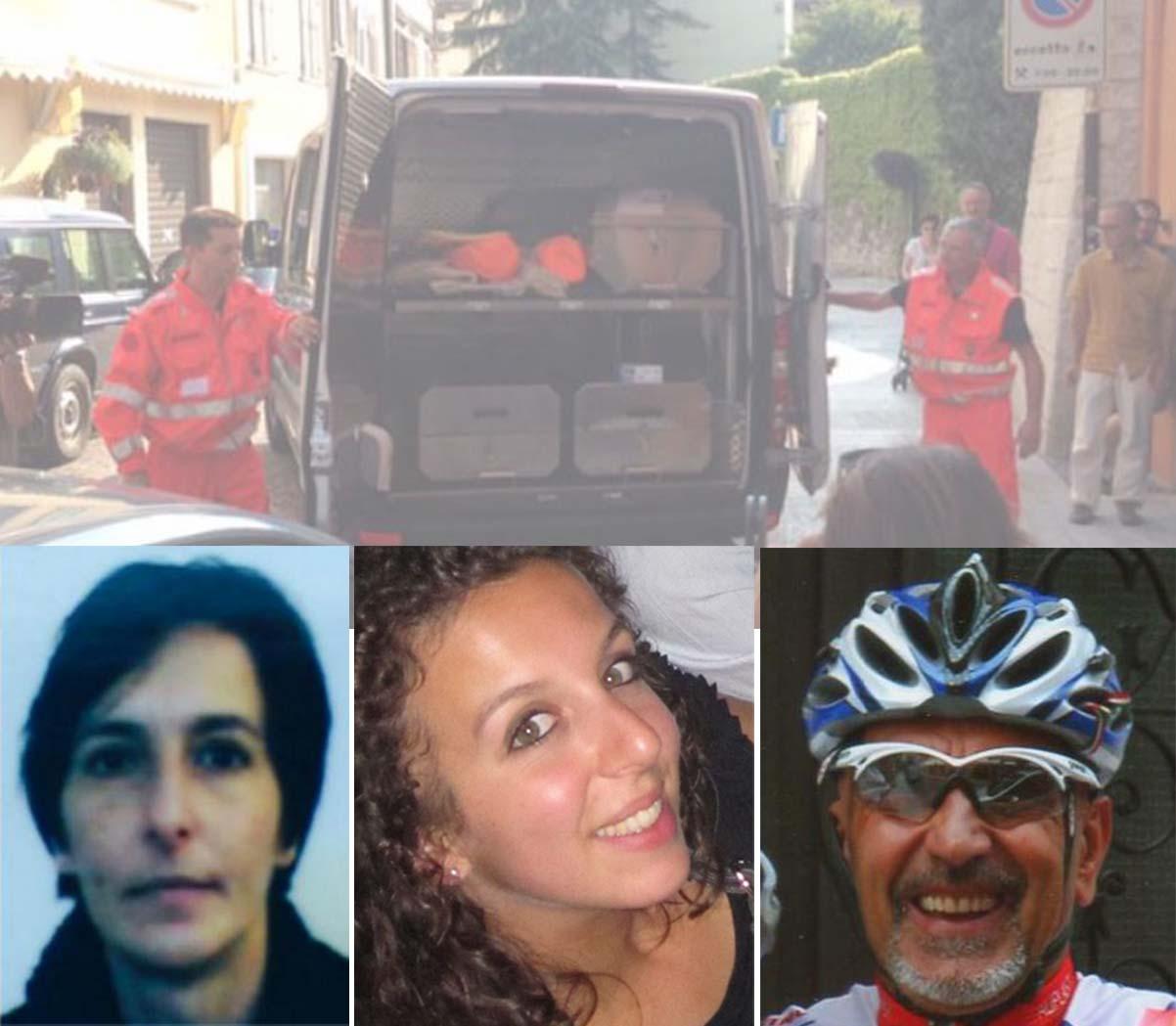 Trento, Da sinistra le vittime Laura Simonetti e Paola Ferrarese e l'omicida suicida Claudio Rampanelli