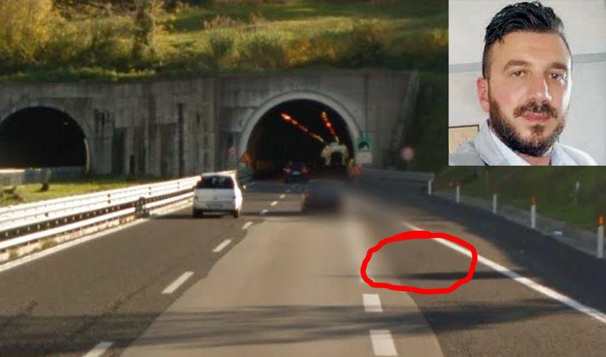Il luogo dell'incidente sull'A3 dove ha perso la vita Ernesto Perri (riquadro)