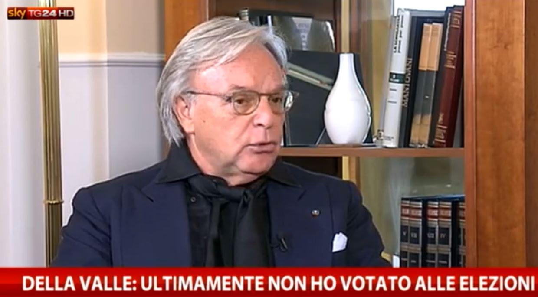 Diego Della Valle durante l'intervista a Sky