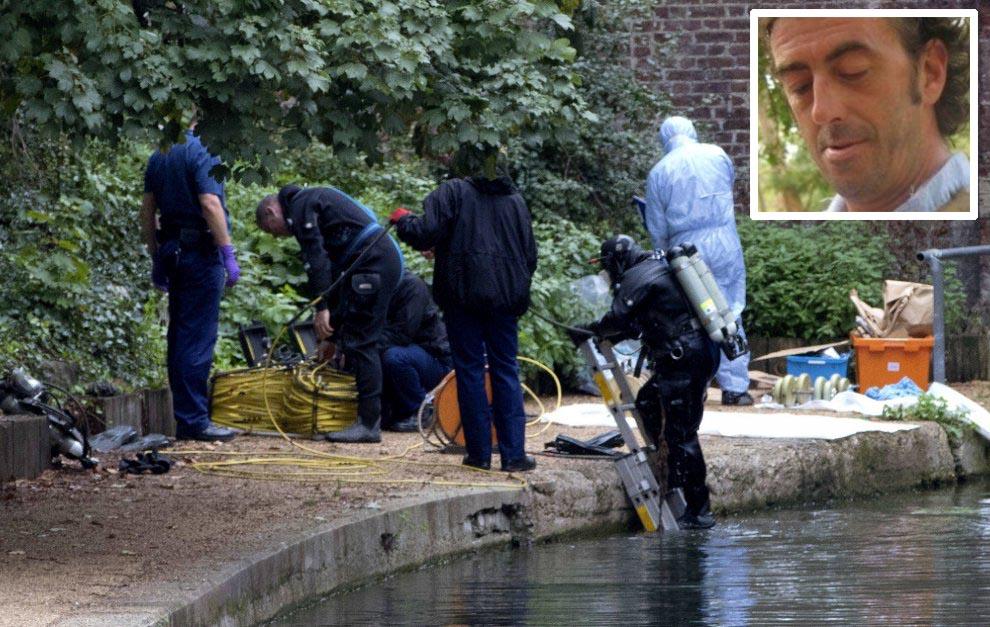 Il luogo nel Regent' Canal a Londra dove è stato recuperato il corpo di Sebastiano Magnanini, riquadro (photo Olycom)