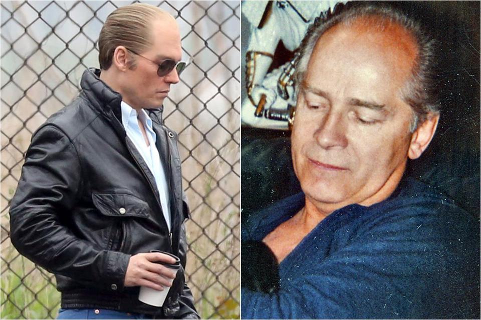 Johnny Depp nel film Black Mass. A destra il vero boss cui è ispirata la pellicola di Cooper